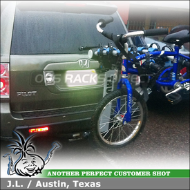 Honda Pilot with Thule Apex Locking Hitch Rack for 5 Bicycles Mounted to 2 inch Trailer Hitch