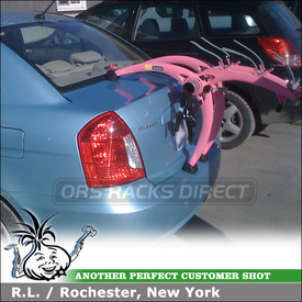 Hyundai Accent Trunk Bike Rack using Saris Pink Bones 3 Bike Trunk Rack