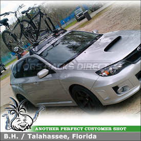 Inno Car Roof Fairing and 2 Fork Lock Bike Racks for Subaru OEM Cross Bars on 2011 Subaru WRX
