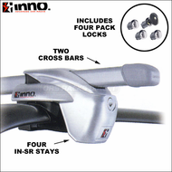 Inno IN-SR Side Rails Car Rack System (Silver) - Complete Inno Roof Rack for Factory Rails