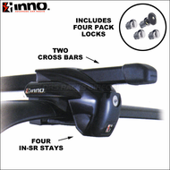 Inno IN-SR SideRails Roof Rack System (Black) - Complete Inno Car Rack for Factory Side Rails