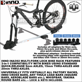 Inno INA392 Multi-Fork Lock Rooftop Bike Mount for Standard Axles and 20mm-15mm Thru-Axles