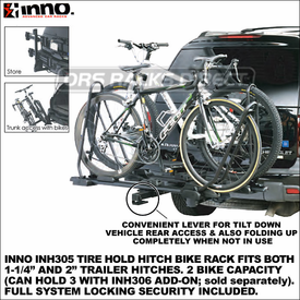 Inno INH305 Tire Hold Trailer Hitch Bike Rack for 1.25 inch-2 inch Receiver Hitches and Inno INH306 Add-On