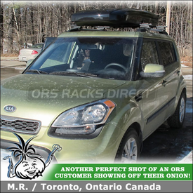 Inno Shadow 15 Roof Box and Thule 450 CrossRoad Car Rack On 2012 Kia Soul Factory Side Rails