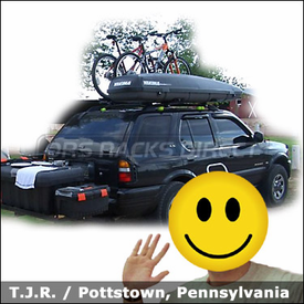 Isuzu Rodeo Roof Rack for Bikes & Luggage with Yakima Lowrider System, Raptor Bike Racks and RocketBox Gear Box