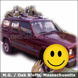 Jeep Cherokee Kayak Roof Rack with Thule 835XTR Hull-a-Port Kayak Carriers