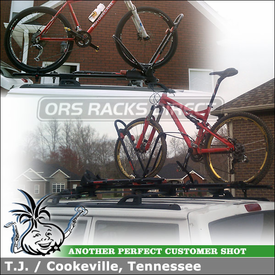 Jeep Cherokee Sport Bike Racks for Factory Cross Bars using Yakima FrontLoader
