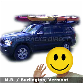 Jeep Grand Cherokee Kayak Rack with Yakima Lowrider Roof Rack and Yakima Mako Saddles