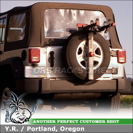 Jeep Wrangler Sahara Bike Rack for Rear Spare Tire using Yakima SpareTime Spare Wheel Mount Bike Rack