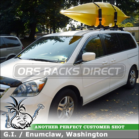 Kayak Rack for 2006 Honda Odyssey Roof Rack Crossbars On Side Rails using Inno IN-FR Stays, B127 Bars and INA450 Kayaks Holder