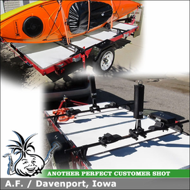 "Kayak Rack for Harbor Freight Tools Trailer on 2001 Ford Focus using Yakima Control Towers (Landing Pads 1 & 58"" Crossbars) and Inno INA450"