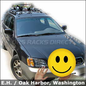 Kayak Rack for Subaru Outback Factory Roof Rack Bars with Yakima Horizontal Mighty Mounts and Mako / HullyRoller Combination