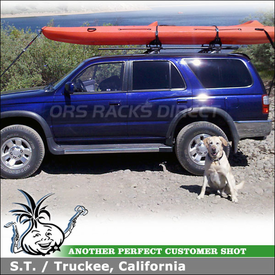 Kayak Rack Roller Lift-Assist System on 1997 Toyota 4Runner Factory Rack