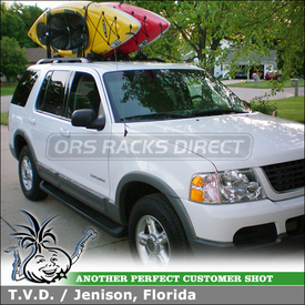 Kayak Racks for 2002 Ford Explorer Factory Rack Cross Bars using Inno INA 450 Kayak Rack for 2 Kayaks
