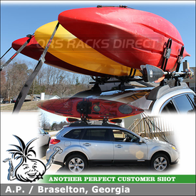 "Kayak Racks for 2012 Subaru Outback Roof Rack Crossbars using Yakima Landing Pad 12, Control Towers, 48"" Bars & HullRaiser J-Cradles"