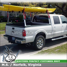 Kayak Saddles and Pickup Truck Bed Rack for 2011 Ford F-250 Crew Cab using TracRac G2 Sliding Truck Rack & Malone Kayak Mount Kits