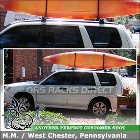 "Kayak Stacker + Roof Rack Cross Bars for 2008 Subaru Forester Side Rails using Yakima RailGrab Kit (w/ Towers & 58"" Crossbars) and Stacker Kayak Rack"