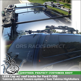 Leer Cap Bike Roof Rack for Ford F-250 using Yakima Control Towers System, HighRoller Bike Racks