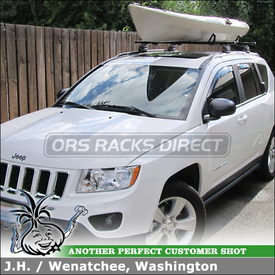 """Load Stops + Roof Rack Crossbars for 2012 Jeep Compass Latitude using Thule 460 Podium (w/ 3097 Fit Kit & 50"""" LB50 Bars) and 503 Load Stops"""