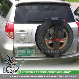 Locking 2-Bike Yakima SpareTime Spare Tire Rack for Toyota RAV-4 Rear Door