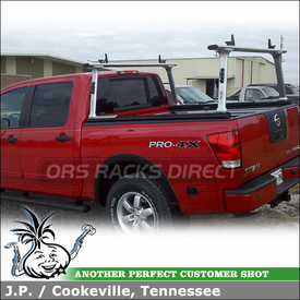 Locking Ladder Rack with Sliding Cross Bars on a 2010 Nissan Titan Crew Cab