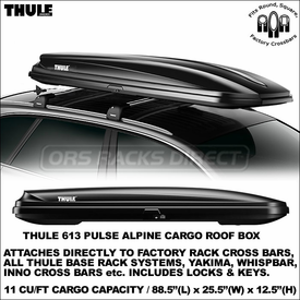 Low-Profile and Value-Priced Thule 613 Pulse Alpine Cargo-Snowboards-Skis Roof Container