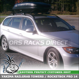 Luggage Container and Rooftop Cross Bars for Raised Side Rails on a 2008 BMW 328xi 5-Door Wagon