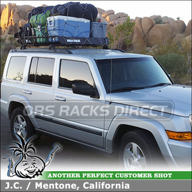 Luggage Roof Basket for 2008 Jeep Commander Factory Rack Crossbars using Yakima MegaWarrior Cargo Gear Basket