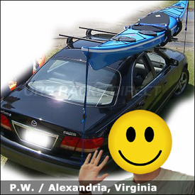 Mazda Millenia Roof Rack for Kayaks with Yakima Q Towers System & Thule 897XT Hullavator Kayak Rack