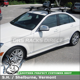 Mercedes Benz C300 Roof Rack Kayak Bike Racks using Thule 460 Podium, 3049 Podium Fit Kit, 518 Echelon & 881 Top Deck