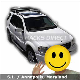 Mercedes Benz GL Class with Thule 450r Rapid CrossRoad Roof Rack and Thule 91725 Snowboard-Ski Rack