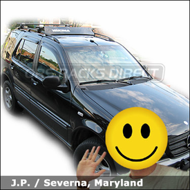 Mercedes Benz ML 320 (M-Class) Roof Rack with Yakima Lowrider System and Wind Deflector