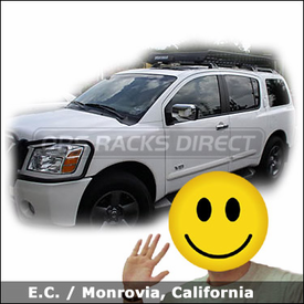 Nissan Armada with Yakima Megawarrior Basket Rack and Megawarrior Extension