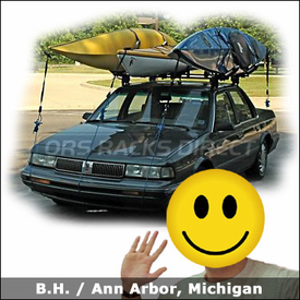 Oldsmobile Cutlass Ciera Roof Rack for Kayaks with Thule 400XT Car Rack, 835XTR Hull-a-Ports & 877XT / 878XT Kayak Racks