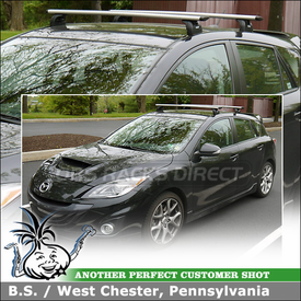 Preset Mounting Point Cartop Rack for 2012 Mazda Speed3 using Thule 460R Podium and AeroBlade Crossbars