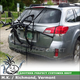 Rear Hatch Door Bike Rack for Subaru Outback using Saris Bones 2 Bike Trunk Rack