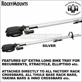 RockyMounts TieRod Stretch Bike Rack for Recumbents, XtraCycle, ElliptiGo etc. - fits Inno, Yakima & Thule Crossbars