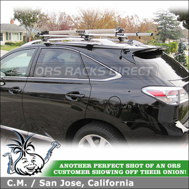 Roof Bike Racks on 2012 Lexus RX350 Factory Side Rails using Thule 450R Foot Pack, ARB53 AeroBlade Bars, 518 Echelon & Xadapt 9 Kits