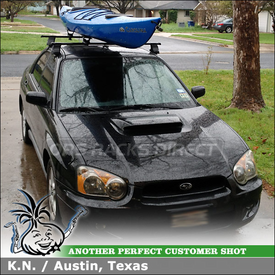 Roof Kayak Rack for 2004 Subaru Impreza WRX using Thule 480 Traverse Foot Pack, 1210 Fit Kit, LB50 Bars & 881 Top Deck Kayak Saddles
