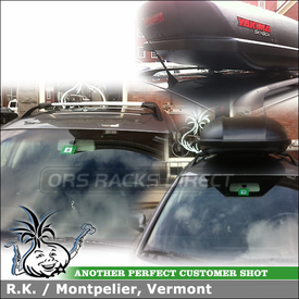 Roof Rack Cargo Box for 2005 VW Passat Factory Side Rails using Whispbar S43 Rail Bar and Yakima SkyBox 18 Luggage Box