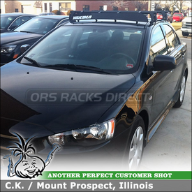 Roof Rack Cross Bars and Wind Fairing for 2011 Mitsubishi Lancer ES Car Top