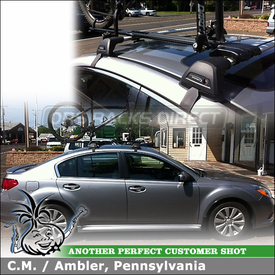 Roof Rack Cross Bars & Bike Rack for 2007 Subaru Legacy 4DR Sedan using Whispbar S7 Flush Bar, K467 Fitting Kit & RockyMounts TieRod