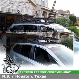 Roof Rack Cross Bars, Fairing & 2 Bike Racks for 2012 Subaru Outback Factory Side Rails using 45050 Thule CrossRoad, INA388 Inno Tire Hold & 870XT Thule Fairing