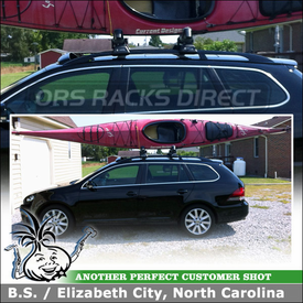 Roof Rack Cross Bars + Kayak Cradles for 2012 VW Jetta Sportwagen using Whispbar S23 Flush Bar, K328 Fitting Kit & BowDown Kayak J-Carrier