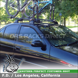 Roof Rack Crossbars + 2 Bike Racks for 2006 Nissan Sentra 1.8S using Whispbar S3 Flush Bar, K323 Fitting Kit & Yakima Fork Lift