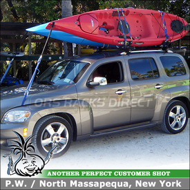 Roof Rack Crossbars and Kayak Carriers On 2011 Chevrolet HHR Side Rails using Thule 45050 CrossRoad System and 834 Hull-a-Port J-Cradles