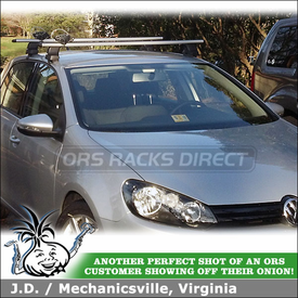 Roof Rack Crossbars & Canoe-Kayak Paddle Holder for 2012 VW Golf TDI using Thule 480R Rapid Traverse (w/ 480R Foot Pack, 1323 Fit Kit, ARB53 AeroBlade Bars) & 839 Get-A-Grip