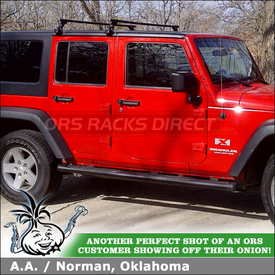 Roof Rack Crossbars for 2009 Jeep Wrangler Unlimited Hard Top using Thule 300 Gutter Foot Pack & LB58 Load Bars