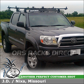"Roof Rack, Fairing and Canoe Mounts for 2009 Toyota Tacoma Double Cab using Yakima Q Towers (w/ Q127 Q128 Clips & 78"" Crossbars), 44"" Faring & Load Stops"