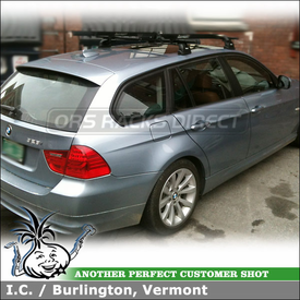 Roof Rack for 2011 BMW 328i Wagon Fix-Points and RockyMounts Bike Racks Attached to the Crossbars